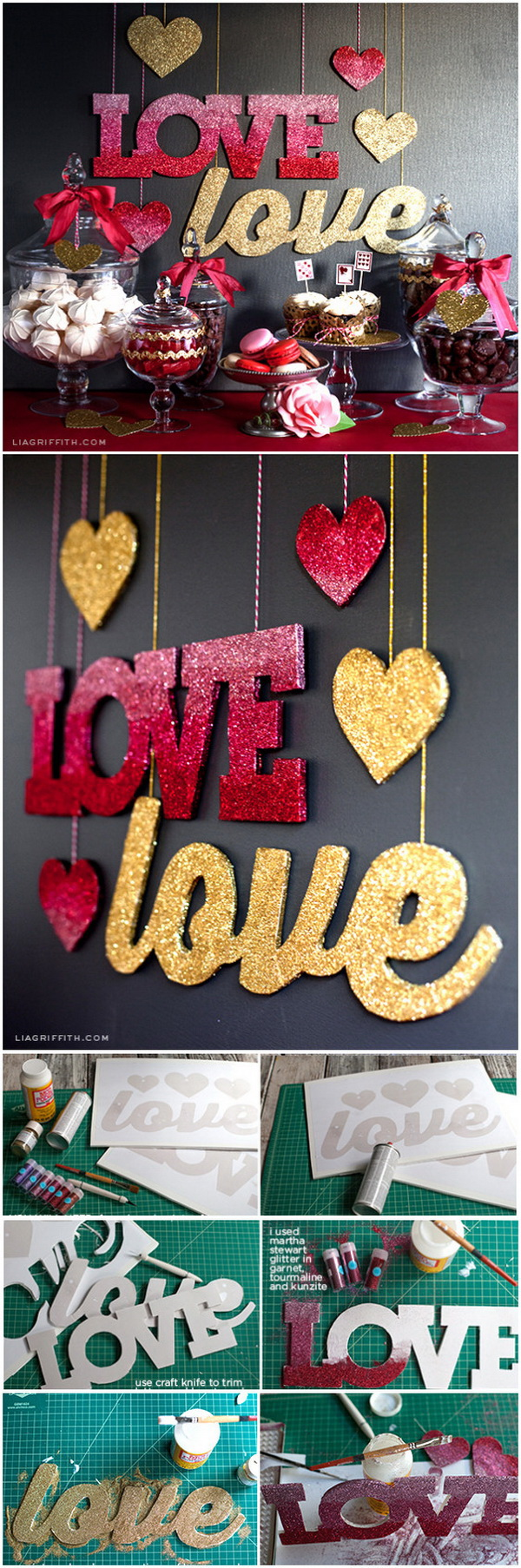 DIY Love Banners in Pink Ombré and Gold Glitter. Easy to make this love banner decorated with pink ombre and gold glitters. Perfect decoration for wedding, New Year's Eve or Valentines Day!