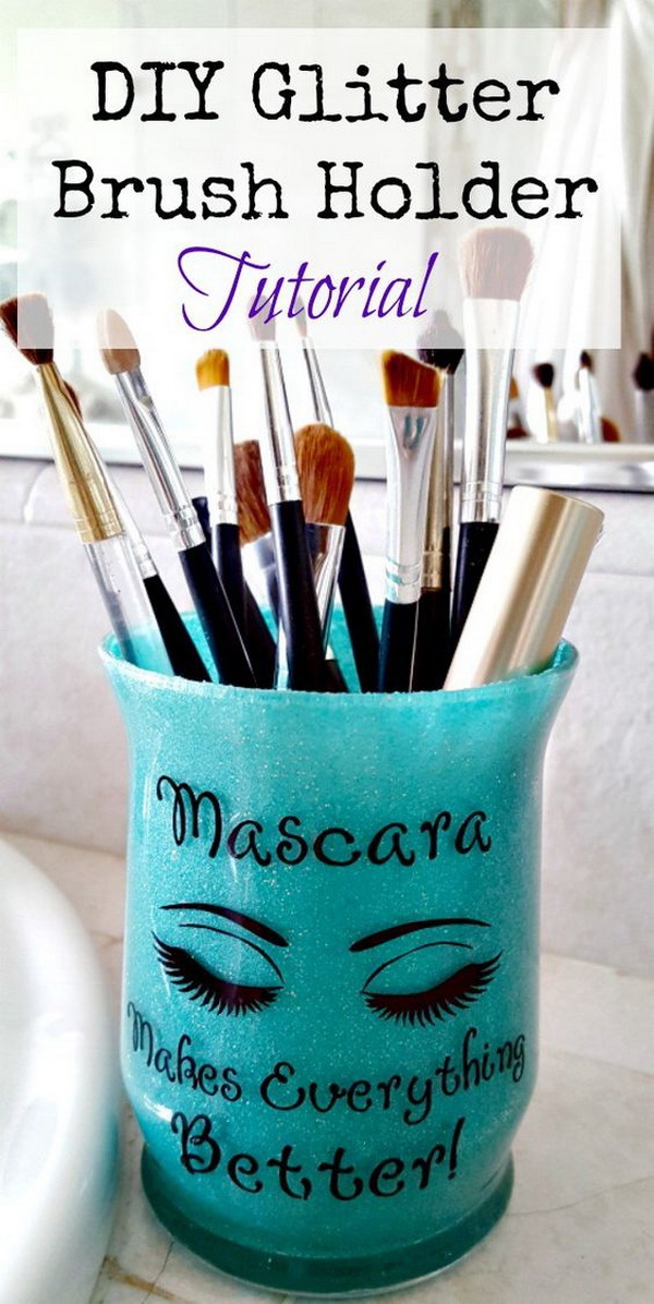 DIY Glitter Brush Holder. Turn the cheap glass votives into the sassy brush holder to organize your makeup brushes. Super easy and inexpensive to make!