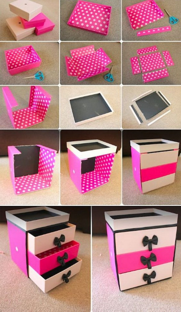 DIY Box Organizer Drawer Cardboard. Never throw away the shopping boxes next time! You can turn them into a cute storage solution like this drawer to your makeups. It is perfect in a girl's room.