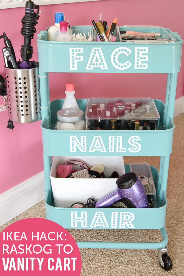 DIY Rolling Vanity Cart. Turn the Ikea Raskog into a rolling makeup storage unit in the house. Label each shelf to organize properly and set it up near your vanity mirror for ease of use.