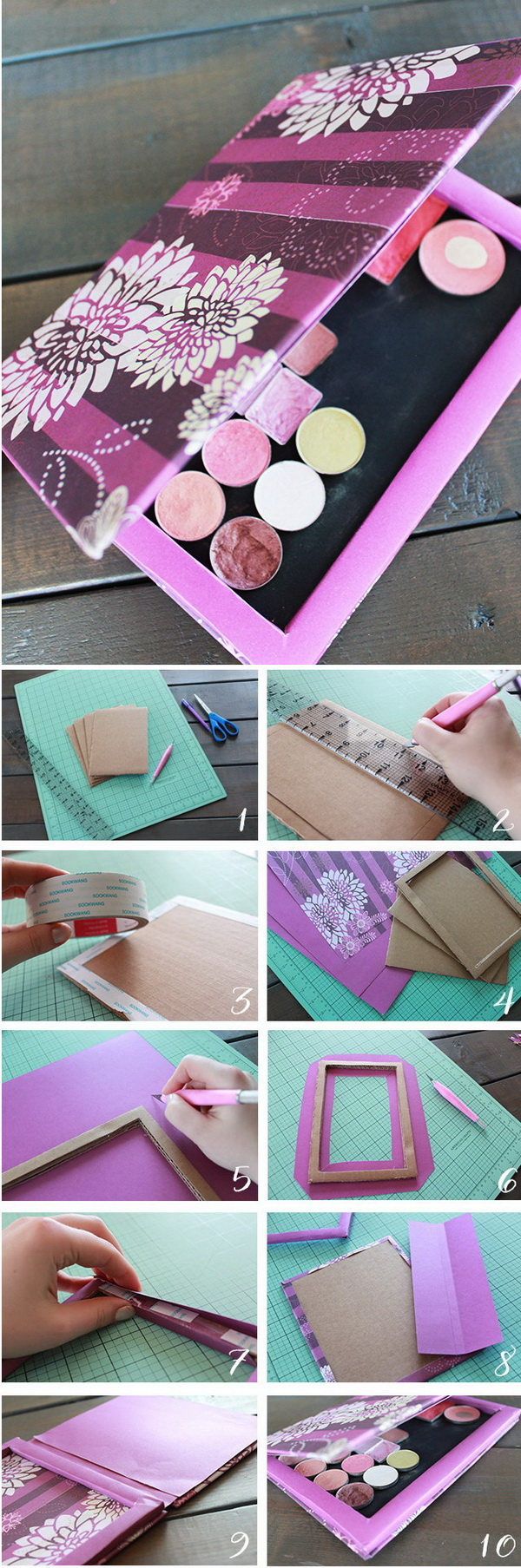 DIY Makeup Palette & 18 Amazing DIY Makeup Storage Ideas and Hacks - Listing More
