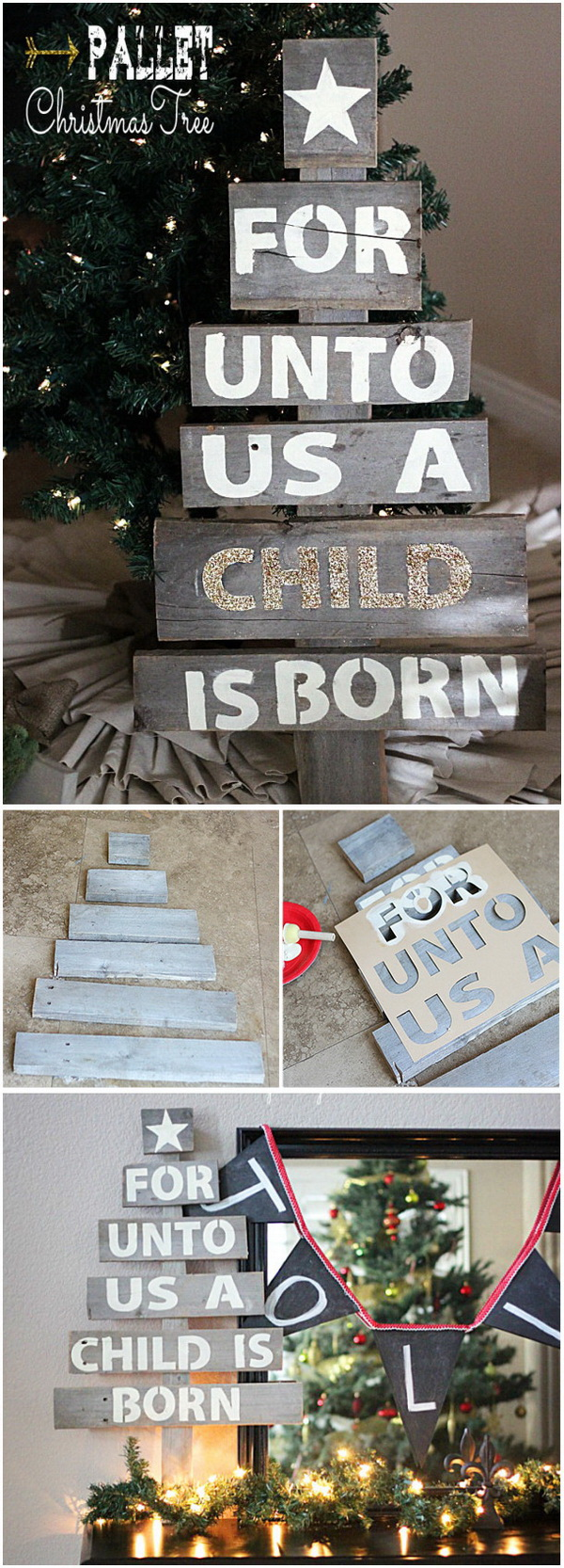 Easy Upcycled Pallet Christmas Tree. This easy upcycled Christmas tree was made from an old pallet and will be a prefect addition to your christmas decoration.
