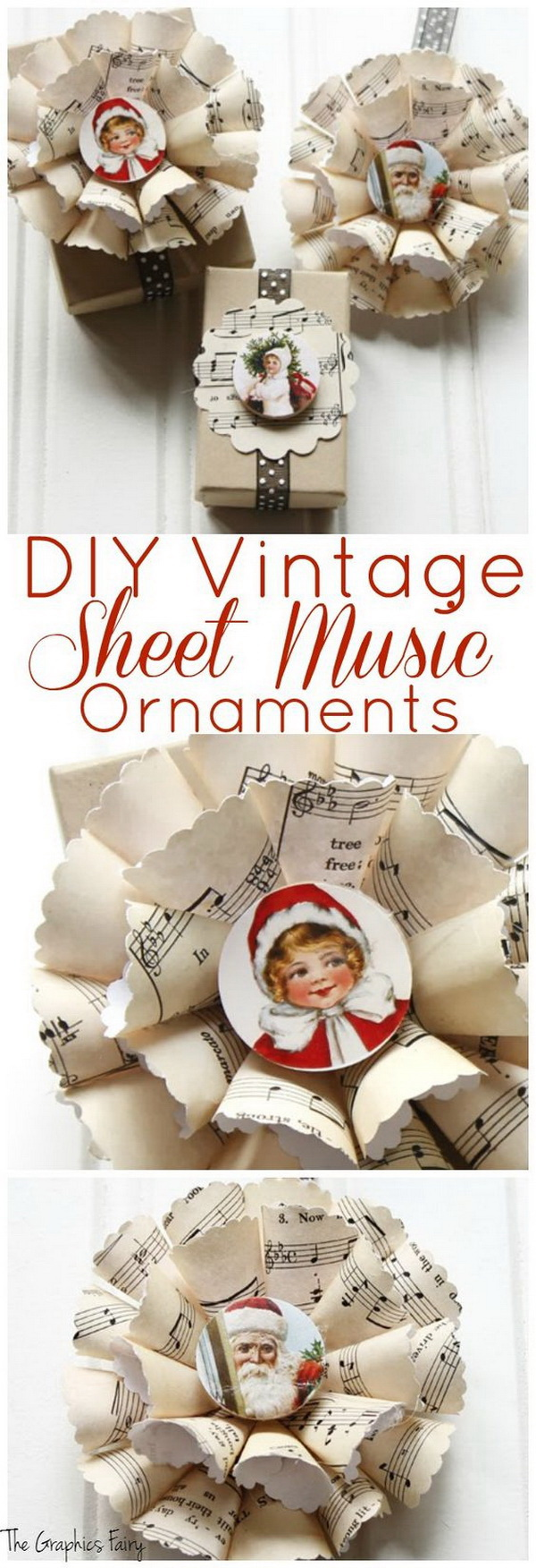 Sheet Music Christmas Ornaments. Great Christmas ornaments made with old sheet music sheets and embellishments! These paper ornaments would be great on the top of a gift as decoration!
