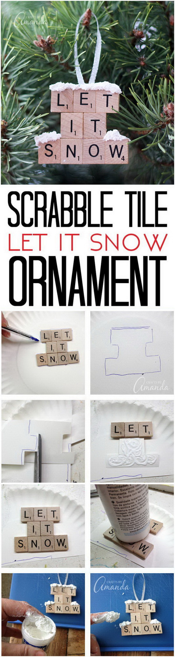 Let It Snow: Scrabble Tile Ornaments.