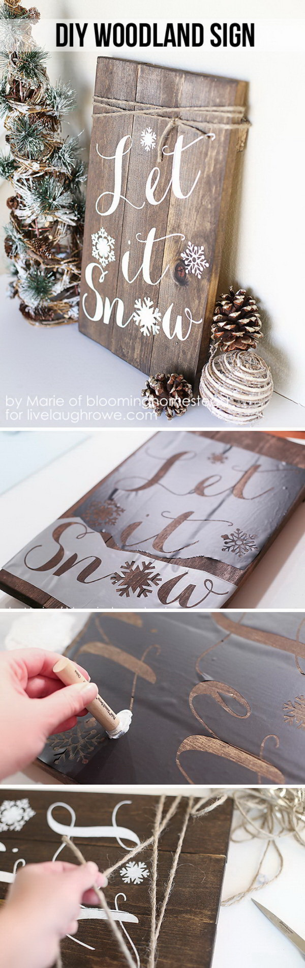 Let It Snow Woodland Sign. Make this fabulous and super fun DIY Winter Woodland Sign for the upcoming holidays! What you can do with some wood, stain and paint!
