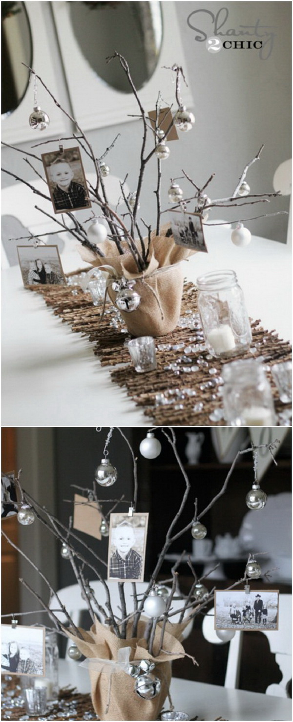 Rustic Photo Tree Centerpiece. Create a little mini tree filled with photos of the family. It can be the great rustic centerpiece with a wonderful country feel and charm.