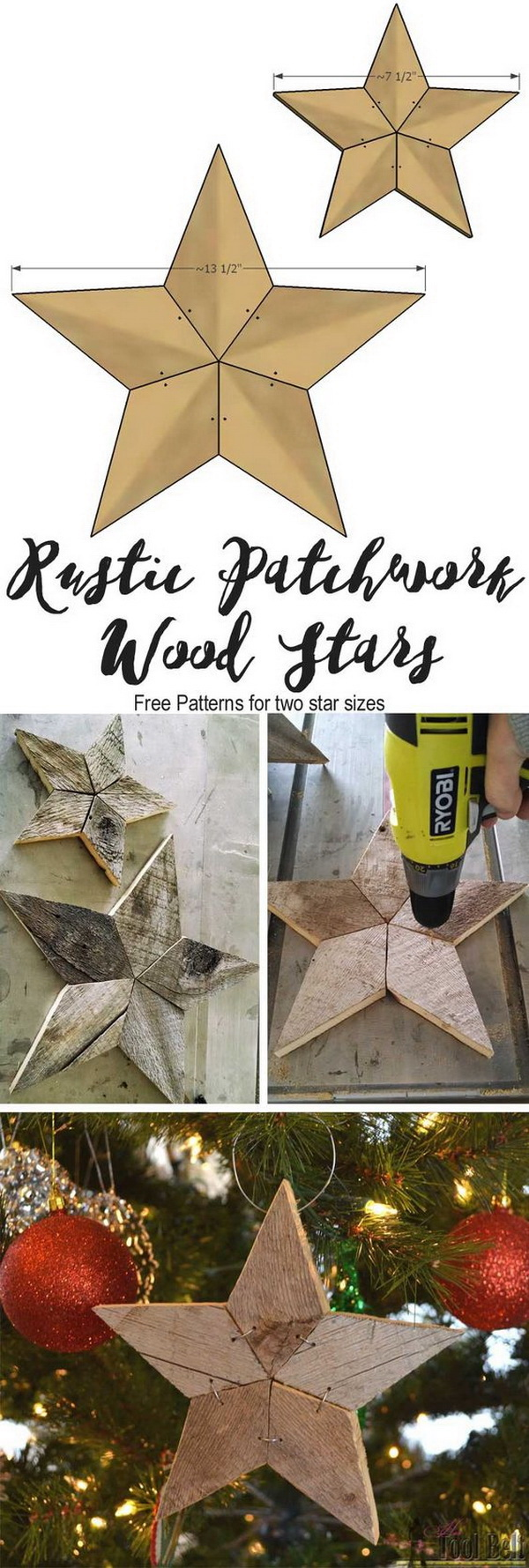 Rustic Patchwork Wood Star Ornaments. Make these fun rustic patchwork stars out of barn wood and add some natural elements into your Christmas decor.