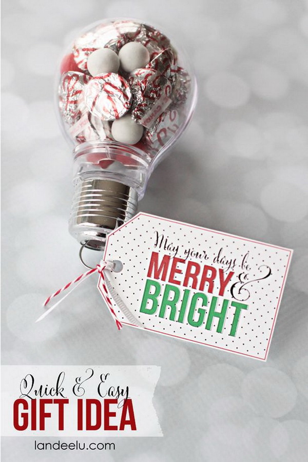 Lightbulb Ornaments with Candy Inside. Quick and Inexpensive Christmas Gift Ideas for Neighbors