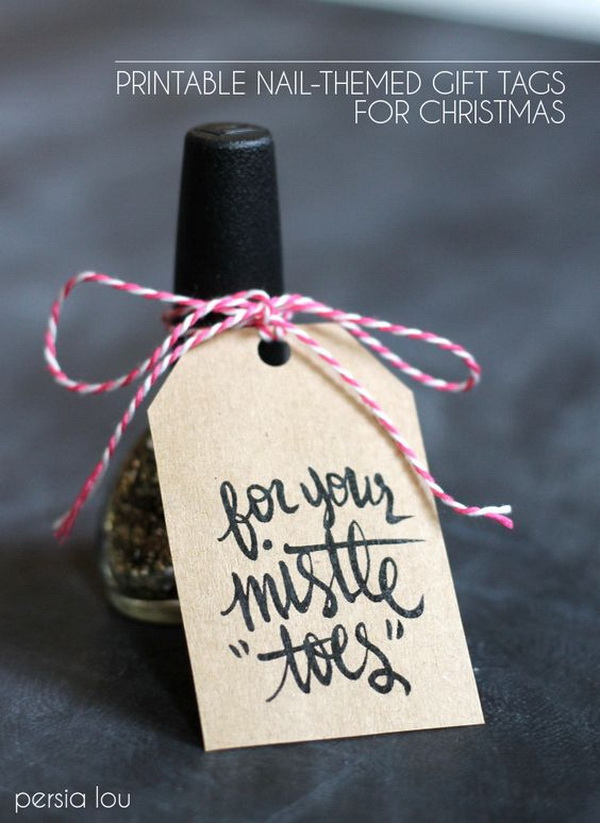 Nail-Themed Gift With Free Pintable Tag. Quick and Inexpensive Christmas Gift Ideas for Neighbors