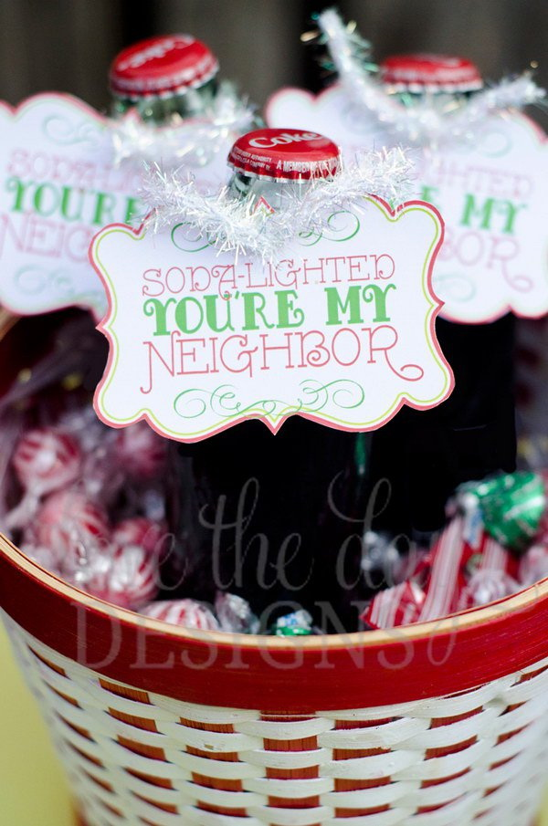 Soda-Lighted You're My Neighbor. Quick and Inexpensive Christmas Gift Ideas for Neighbors