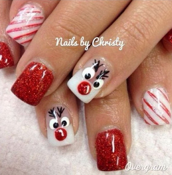 65 festive christmas nail art designs - Christmas Nail Decorations