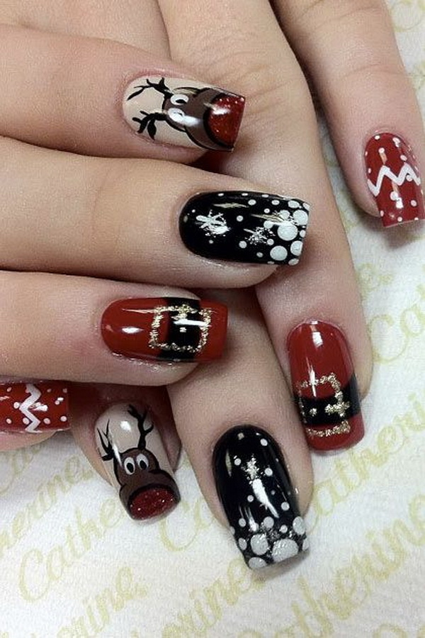 65 festive nail art ideas for christmas listing more 65 festive christmas nail art designs prinsesfo Image collections