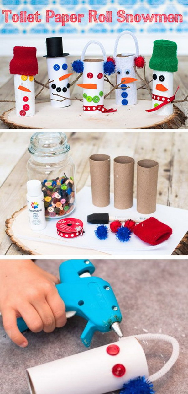 Toilet Paper Roll Snowmans. A perfect Christmas craft for your kids to do with these cute DIY toilet paper roll snowmans!