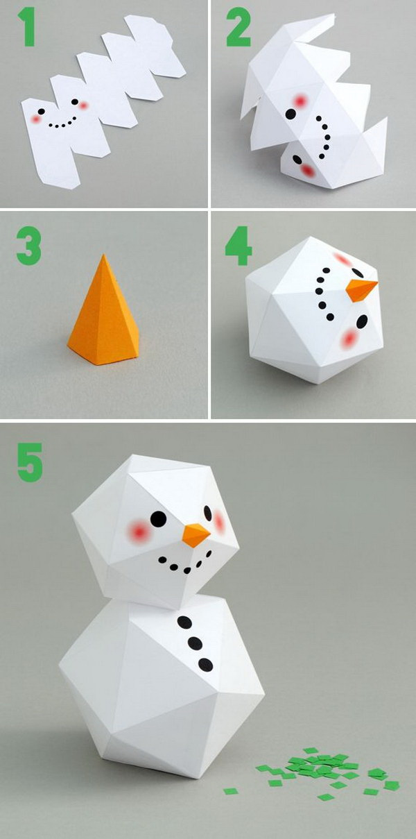 DIY Geometric Paper Snowman. Simply print out the templates and then cut, fold and glue them together. This super cute geometric paper snowman is perfect to be used as Christmas tree decorations.