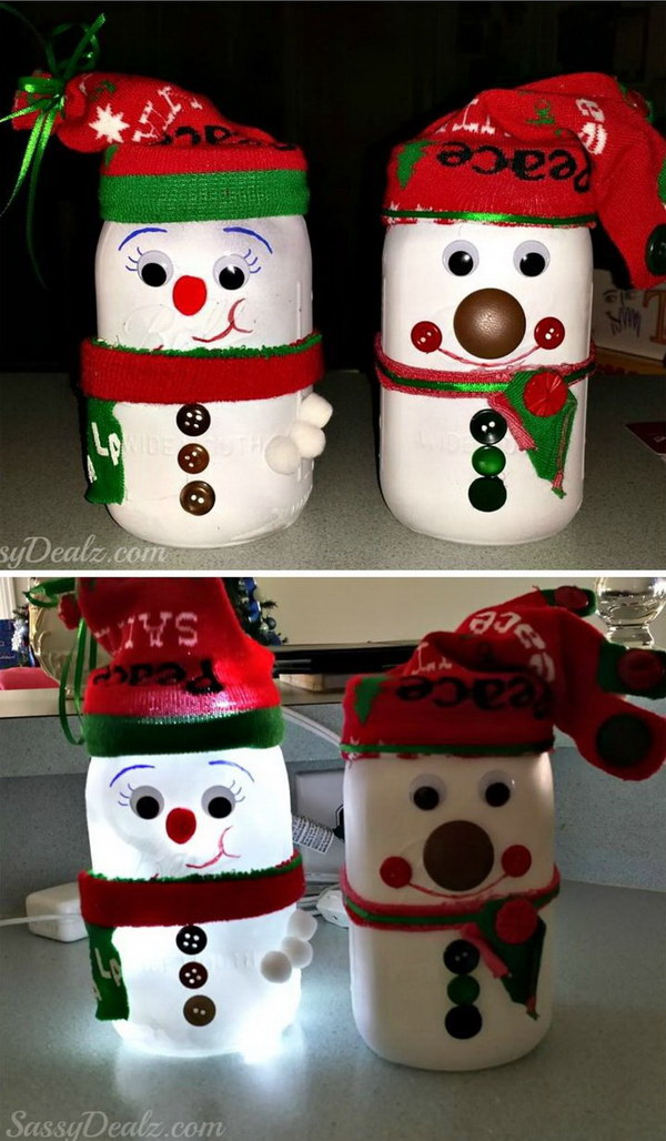 DIY Snowman Mason Jar Light. This DIY snowman mason jar light will be the perfect winter or Christmas craft to make with your kids. All you need is a mason jar, white paint, buttons, googly eyes, markers, Christmas socks, fabric pieces or string, pom poms, etc.
