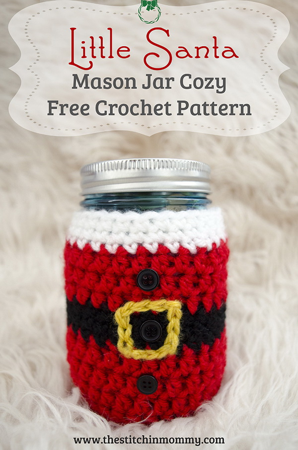 Little Santa Mason Jar Cozy. This little santa mason jar cozy takes about an hour or so to work up and is super festive for the season! It can also be the great giving gifts for holiday!