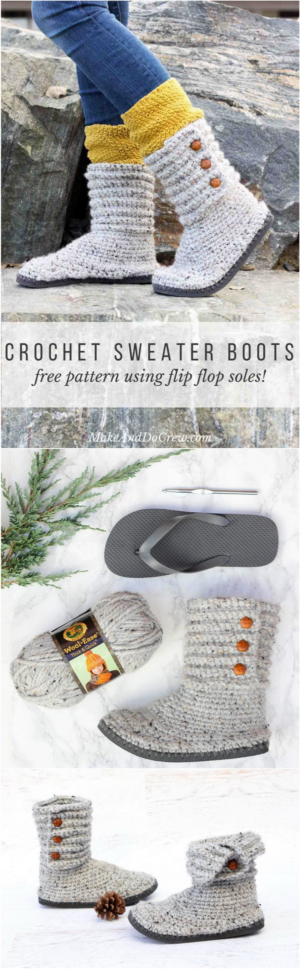 Crochet Sweater Boots With Flip Flops. Transform a cheap pair of flip flops into these excellent sweater boots that look like expensive store-bought shoes.