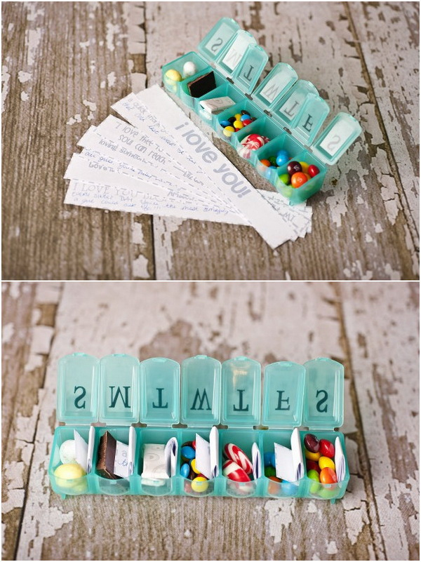 Seven Days Of Love. Surprise your beloved one with seven days of thoughtfu love notes or quote and a few pieces of candy in a special pill box container on Valentine's Day! He will love this gift very much!