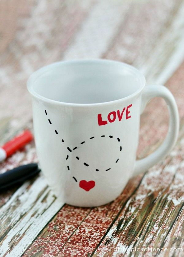 Handwritten Love Mug. Make this DIY love mug as Valentine's Day gift with Sharpie markers! Super easy and quick to make.