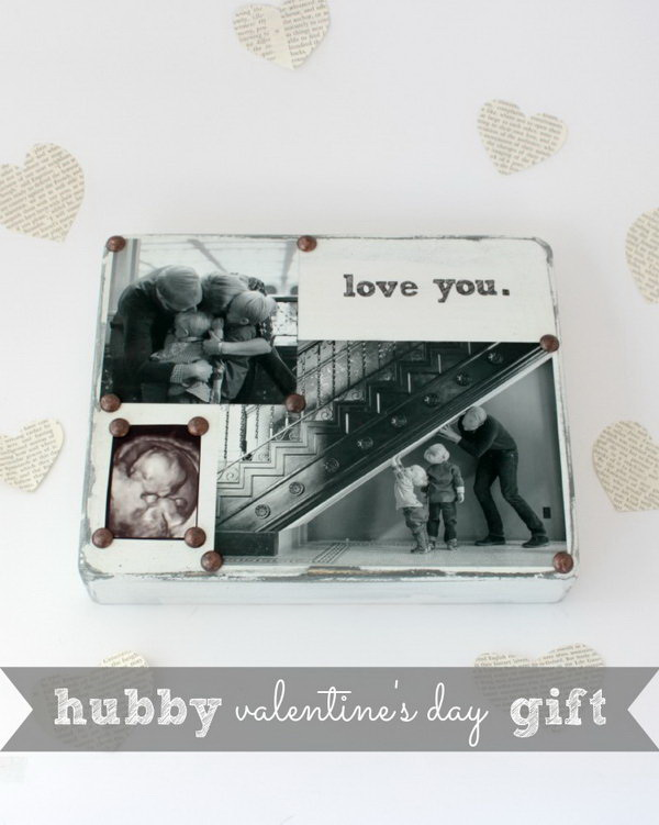 DIY Photo Block. Make this easy gift with special messages and significant photos. A romantic and creative valentine's day gift for your honey.