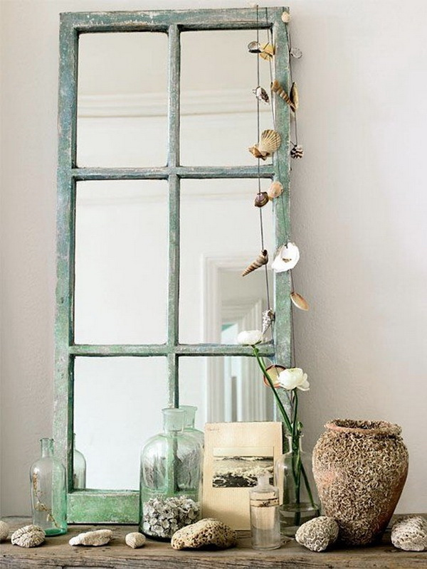 Beach Style Mirror Decoration. Upcycle the vintage floor mirror into a beautiful decor for your entry way! The decorative seashells really change and enhance the look of current space.