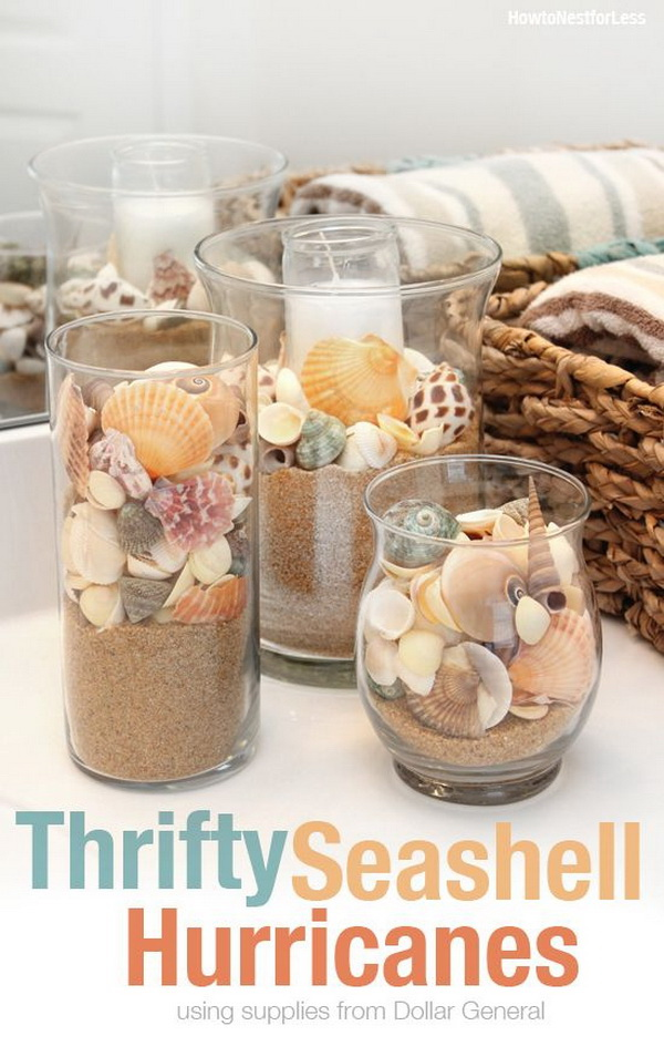 Thrify Seashell Hurricanes. A beautiful way to display your beach findings, seashells in different colors and sizes, sea sand... in a clear glass!