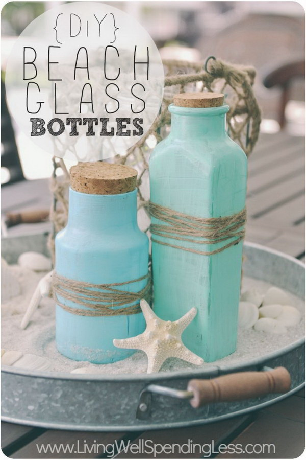 DIY Beach Glass Bottles.