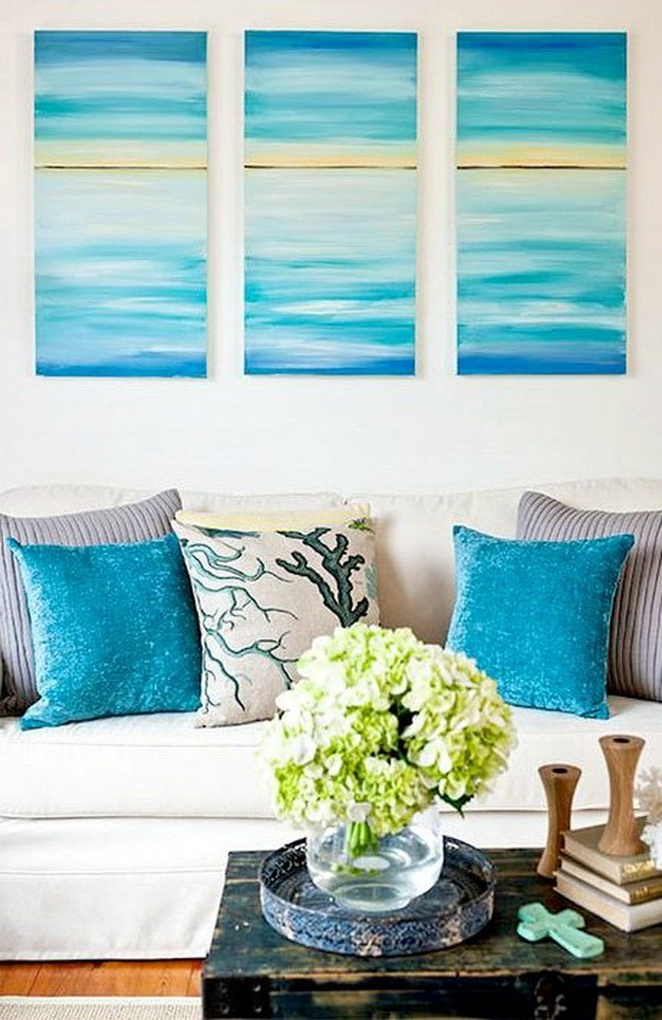 Easy DIY Ocean Canvas Art. Bring your home a soothing beach vibe with this easy DIY ocean canvas art! It is quick and easy and super cheap to make too.