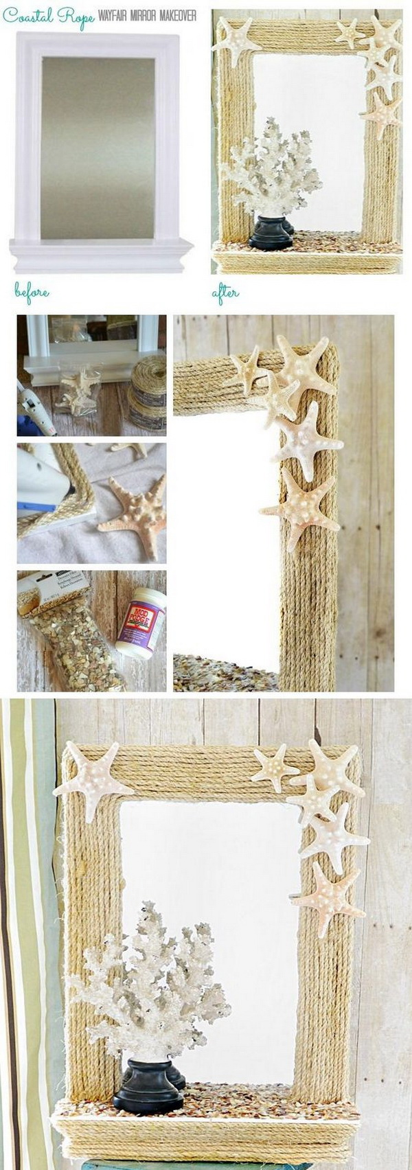 DIY Coastal Rope Mirror.