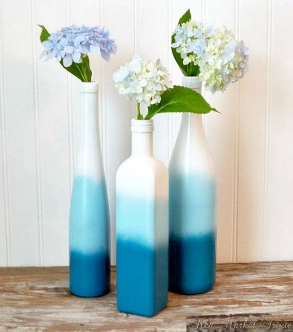 DIY Spray Paint Wine Bottles.