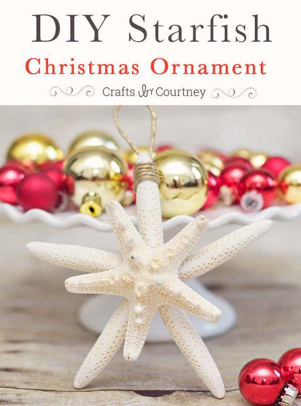 DIY Starfish Christmas Ornaments.