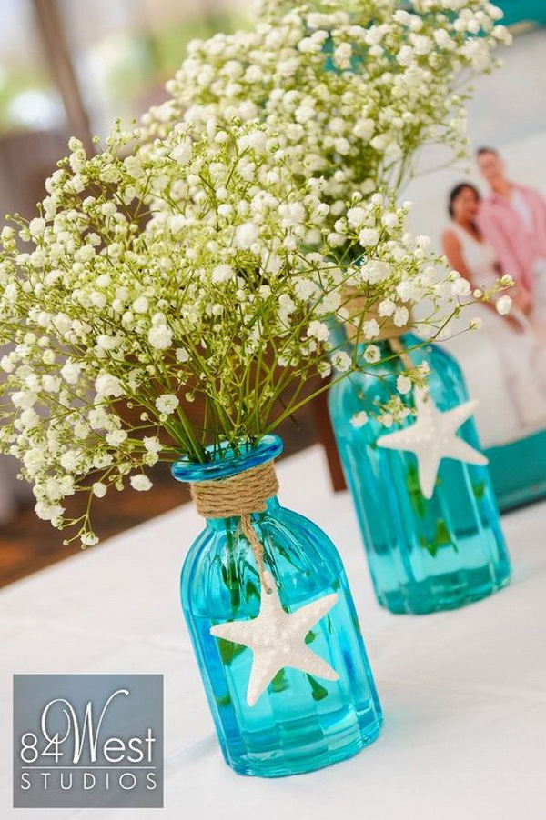 Beach Themed Mason Jar Centerpiece.