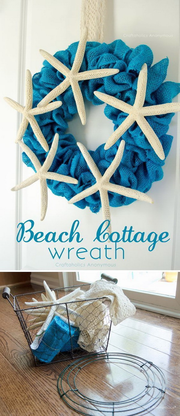 Burlap Beach Wreath.