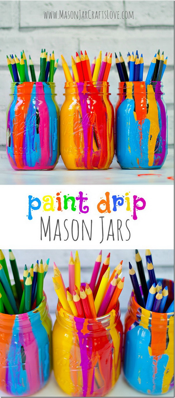 Paint Drip Mason Jars.