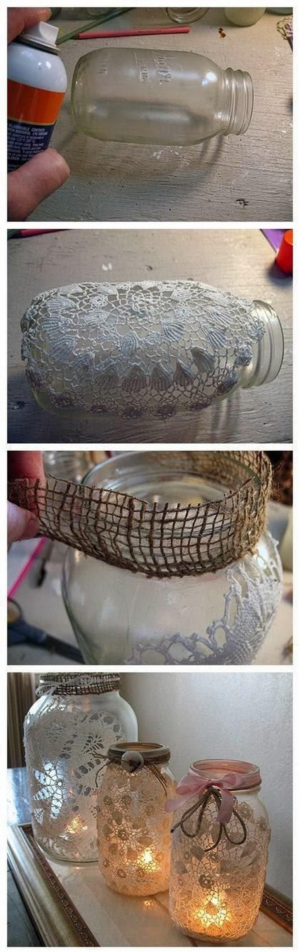 DIY Burlap and Doily Luminary Jars.