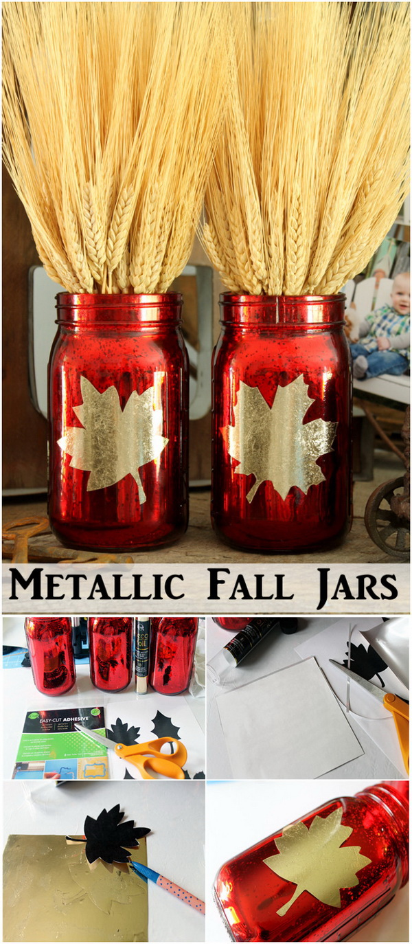 Metallic Fall Jars Centerpiece.