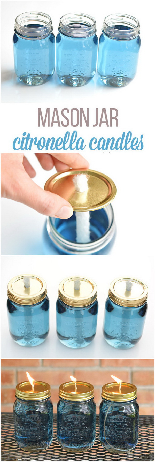 Mason Jar Citronella Candles.