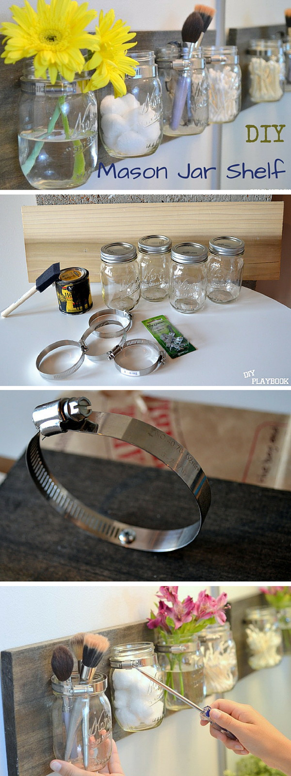 Mason Jar Shelf Bathroom Organizer.