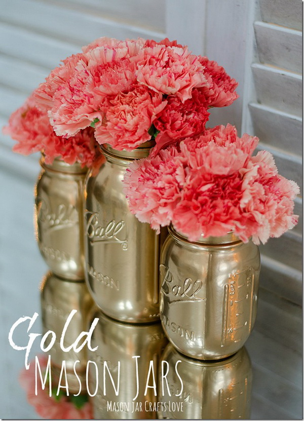 Gold Spray Painted Mason Jar.