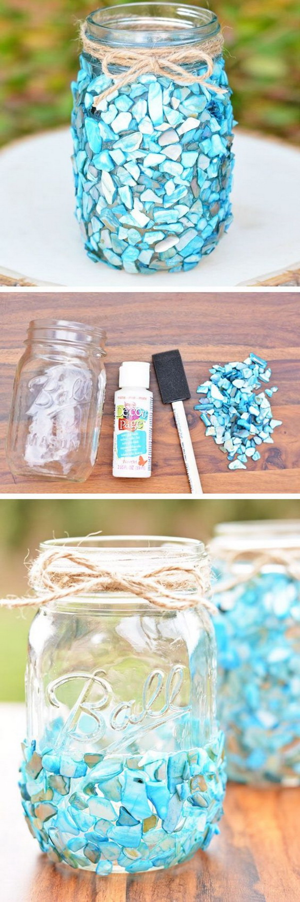 Beach Inspired Mason Jar Craft.