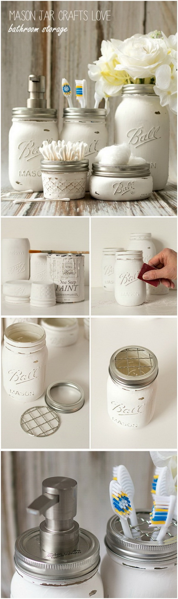 DIY Mason Jar Bathroom Storage.
