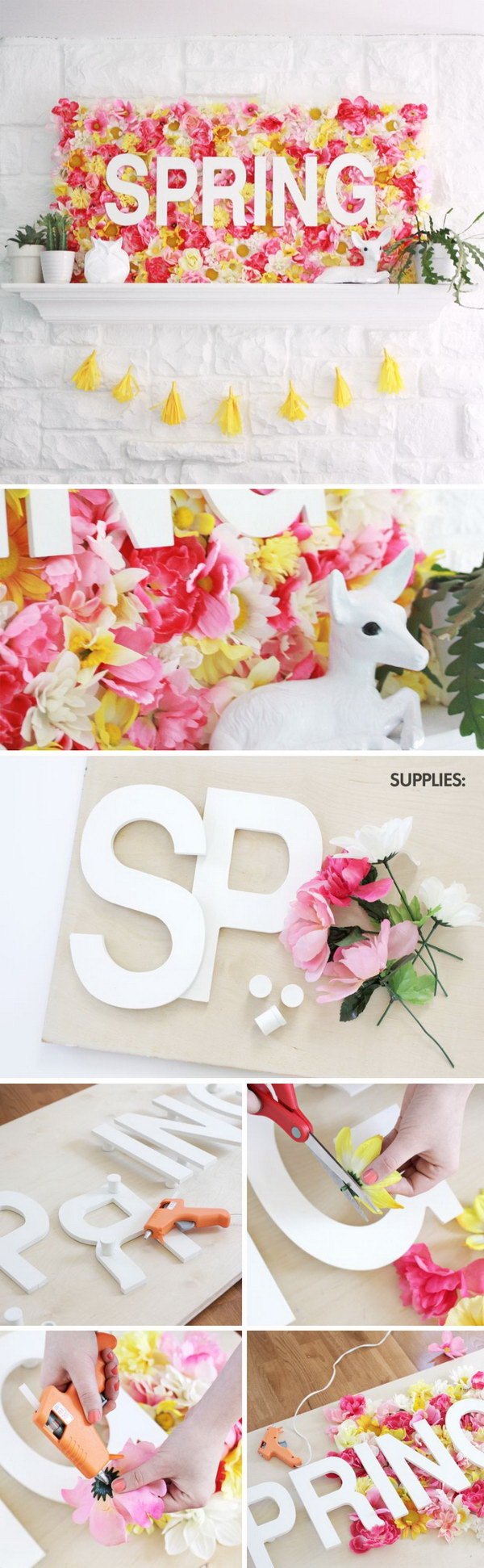 Spring Wallflower Sign. Bring the outdoors inside this spring by making this amazing giant wallflower sign for your mantel decoration.