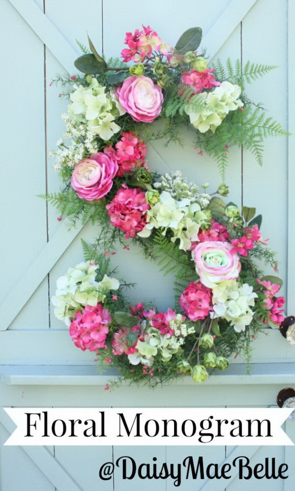 DIY Floral Monogram. Make a budget-friendly floral monogram with fresh flowers and other supplies. It is easy and quick to make and great for your wedding decoration or home decoration this spring!