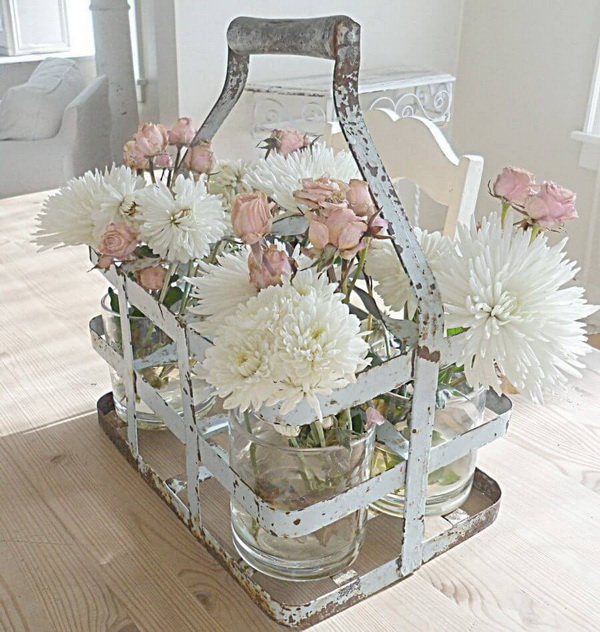 Shabby Chic Milk Crate Floral Display.