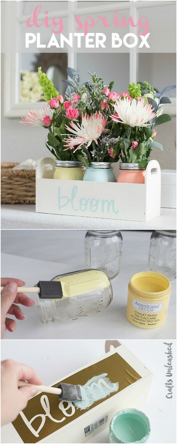 Chalk Painted Mason Jar DIY Spring Planter Box. Create a lovely DIY planter box with chalky paint mason jars and some fresh flowers and add some color to your home this Spring season.
