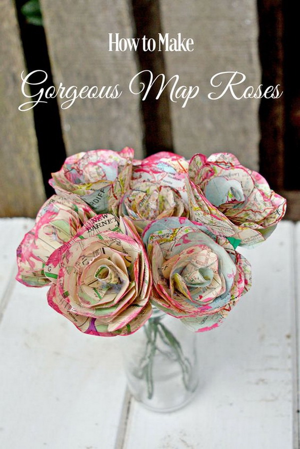 DIY Map Roses. These map roses are easier to make than you think. They are great for Mother's day, Valentine's day or just as a lovely decoration.