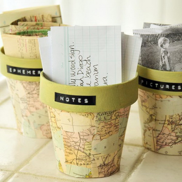 Map Pattern Pot Project. Finish off the simple flower pot project with map patterns for a fantastic and vintage outlook.