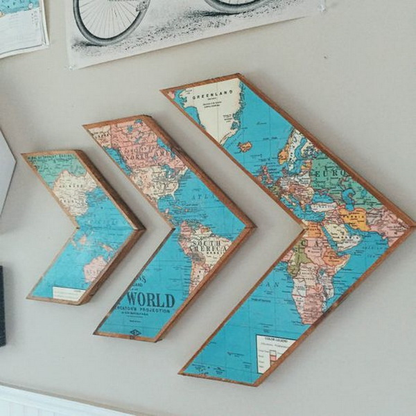 Diy ways to craft with old maps listing more for Cheap artwork ideas