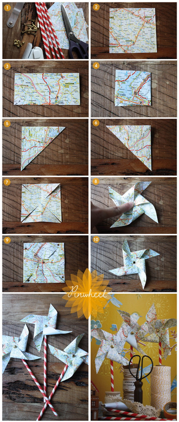 Create this easy DIY pinwheel centerpiece with old maps and a classic mason jar for a simple yet whimsical display. It is super fun and easy to make in about 15 minutes!