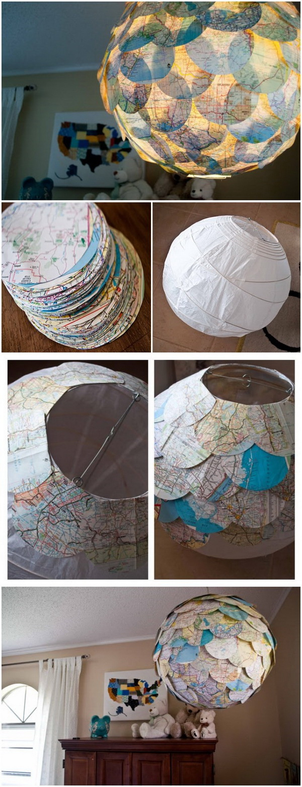 DIY Map Pendant Light. Turn a plain paper lantern into a personalized centerpiece for any room with the help of a handful of vintage map cutouts.